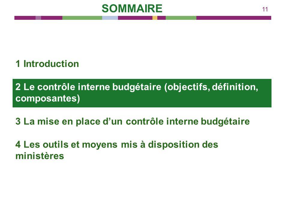 11 1 Introduction 2 Le contrôle interne budgétaire (objectifs, définition, composantes) 3 La mise en place dun contrôle interne budgétaire 4 Les outil