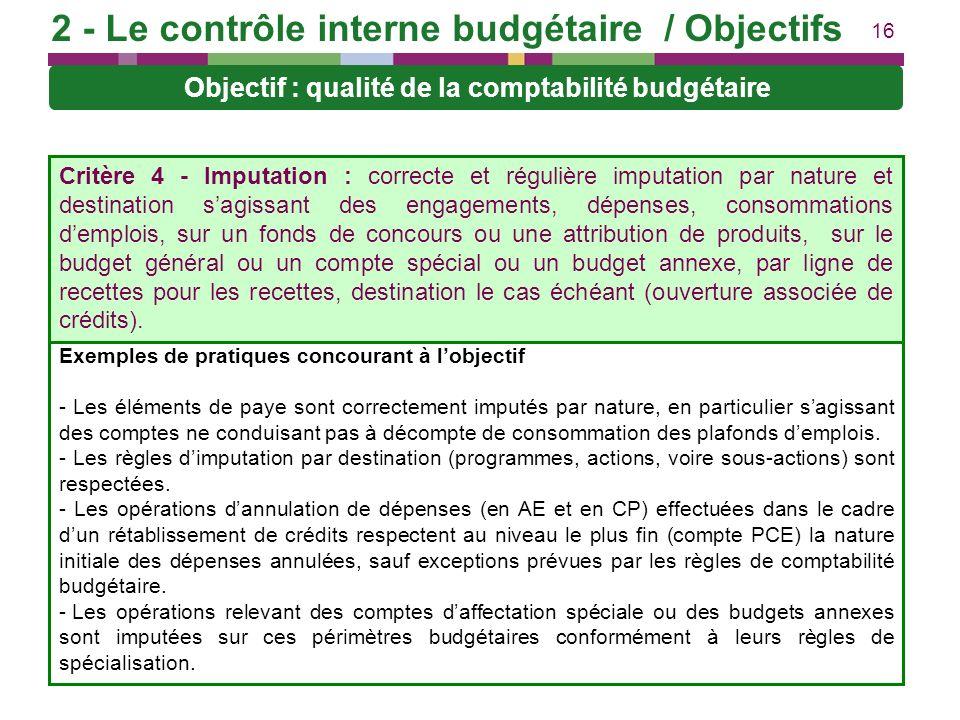 16 Objectif : qualité de la comptabilité budgétaire Exemples de pratiques concourant à lobjectif - Les éléments de paye sont correctement imputés par