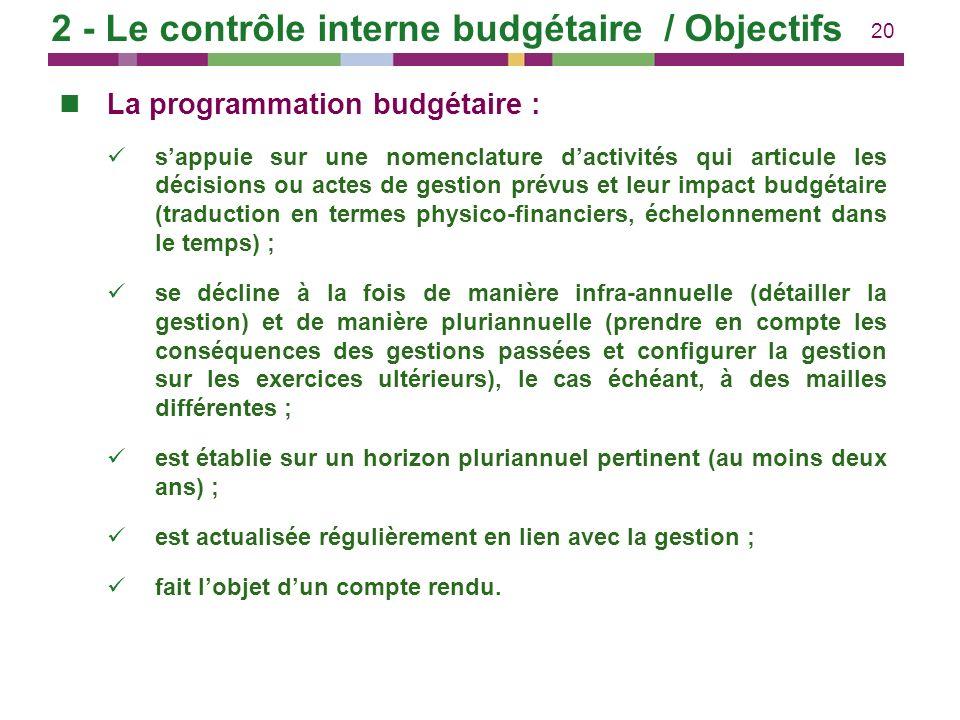 20 La programmation budgétaire : sappuie sur une nomenclature dactivités qui articule les décisions ou actes de gestion prévus et leur impact budgétai