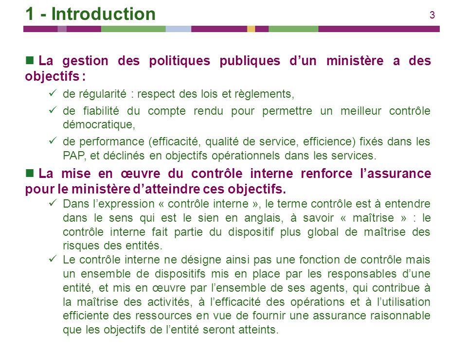 3 1 - Introduction La gestion des politiques publiques dun ministère a des objectifs : de régularité : respect des lois et règlements, de fiabilité du