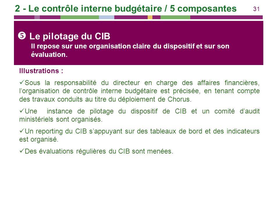 31 Illustrations : Sous la responsabilité du directeur en charge des affaires financières, lorganisation de contrôle interne budgétaire est précisée,