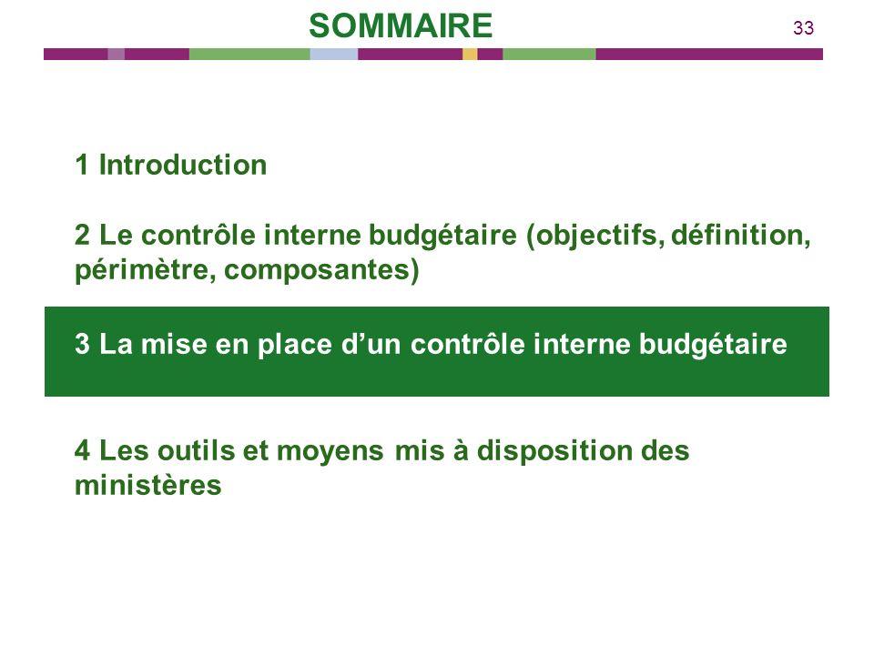 33 1 Introduction 2 Le contrôle interne budgétaire (objectifs, définition, périmètre, composantes) 3 La mise en place dun contrôle interne budgétaire