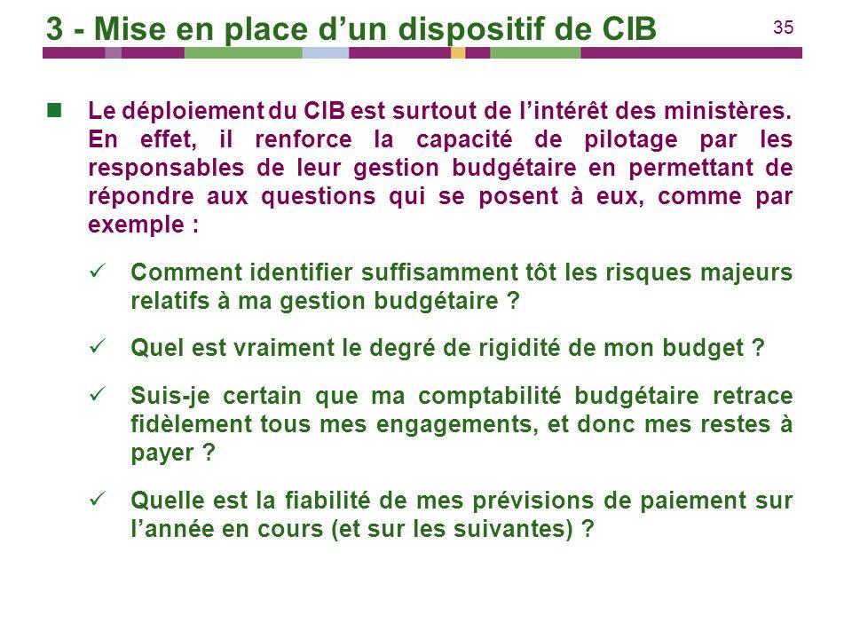 35 Le déploiement du CIB est surtout de lintérêt des ministères. En effet, il renforce la capacité de pilotage par les responsables de leur gestion bu