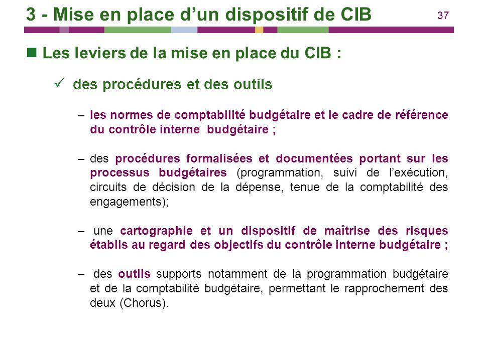 37 Les leviers de la mise en place du CIB : des procédures et des outils –les normes de comptabilité budgétaire et le cadre de référence du contrôle i