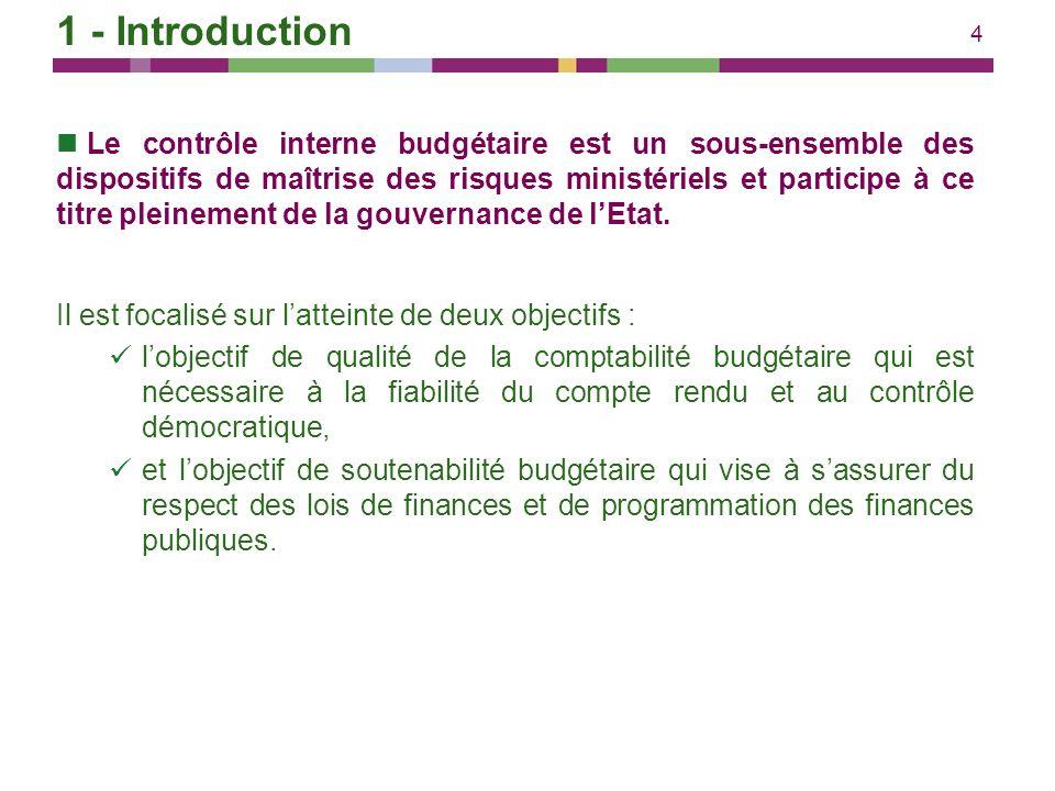 4 Le contrôle interne budgétaire est un sous-ensemble des dispositifs de maîtrise des risques ministériels et participe à ce titre pleinement de la go
