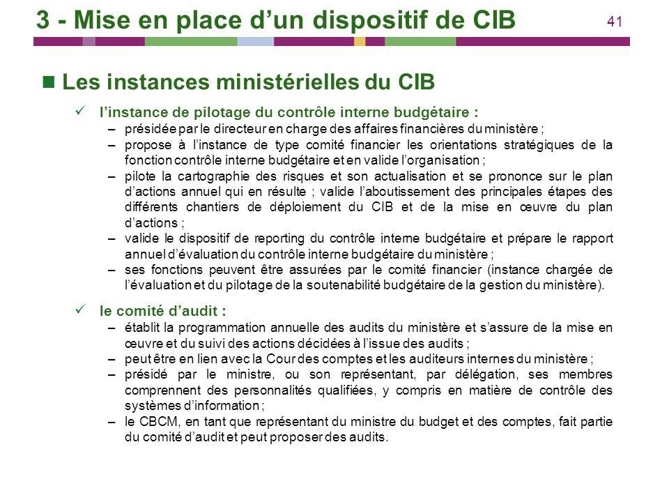 41 Les instances ministérielles du CIB linstance de pilotage du contrôle interne budgétaire : –présidée par le directeur en charge des affaires financ