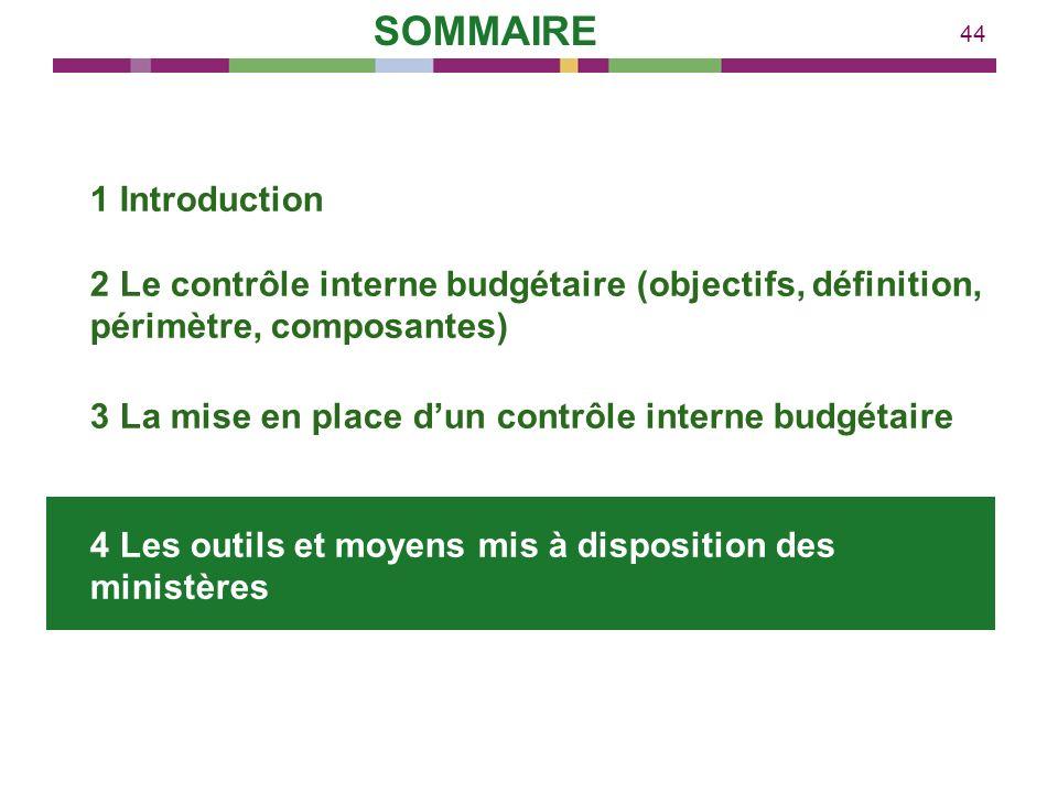44 1 Introduction 2 Le contrôle interne budgétaire (objectifs, définition, périmètre, composantes) 3 La mise en place dun contrôle interne budgétaire