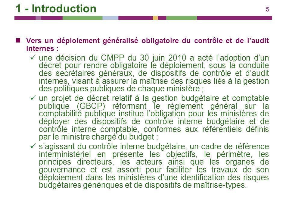 5 Vers un déploiement généralisé obligatoire du contrôle et de laudit internes : une décision du CMPP du 30 juin 2010 a acté ladoption dun décret pour