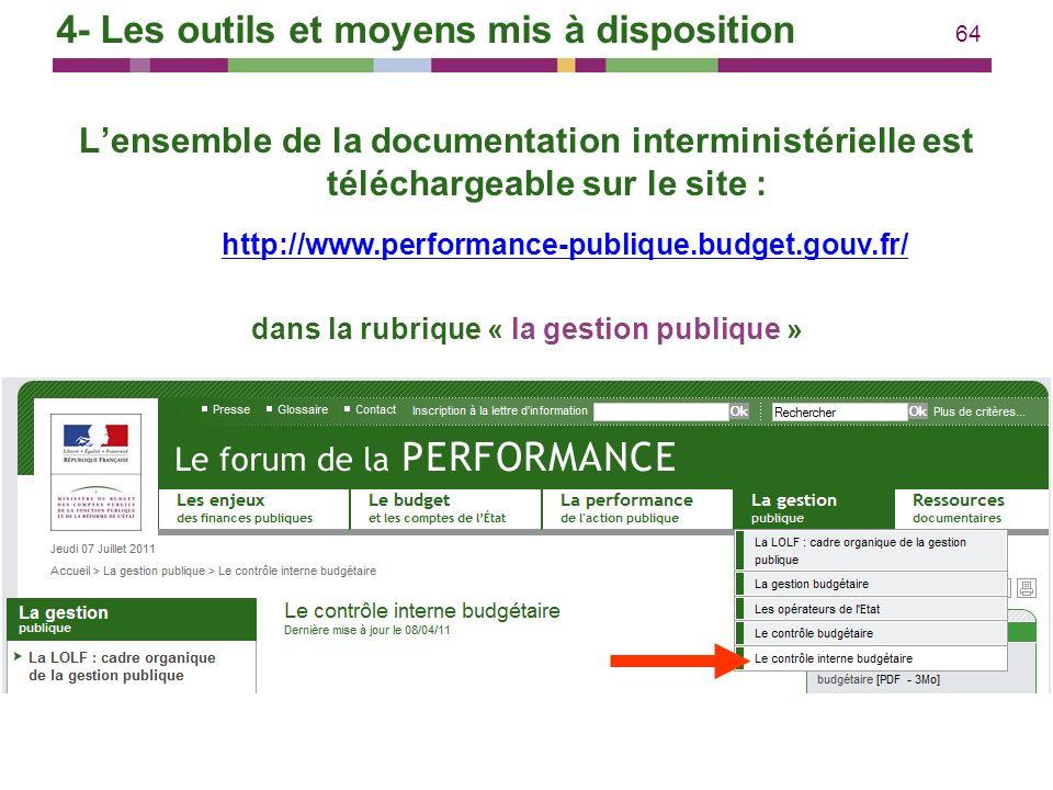 64 Lensemble de la documentation interministérielle est téléchargeable sur le site : dans la rubrique « la gestion publique » http://www.performance-p