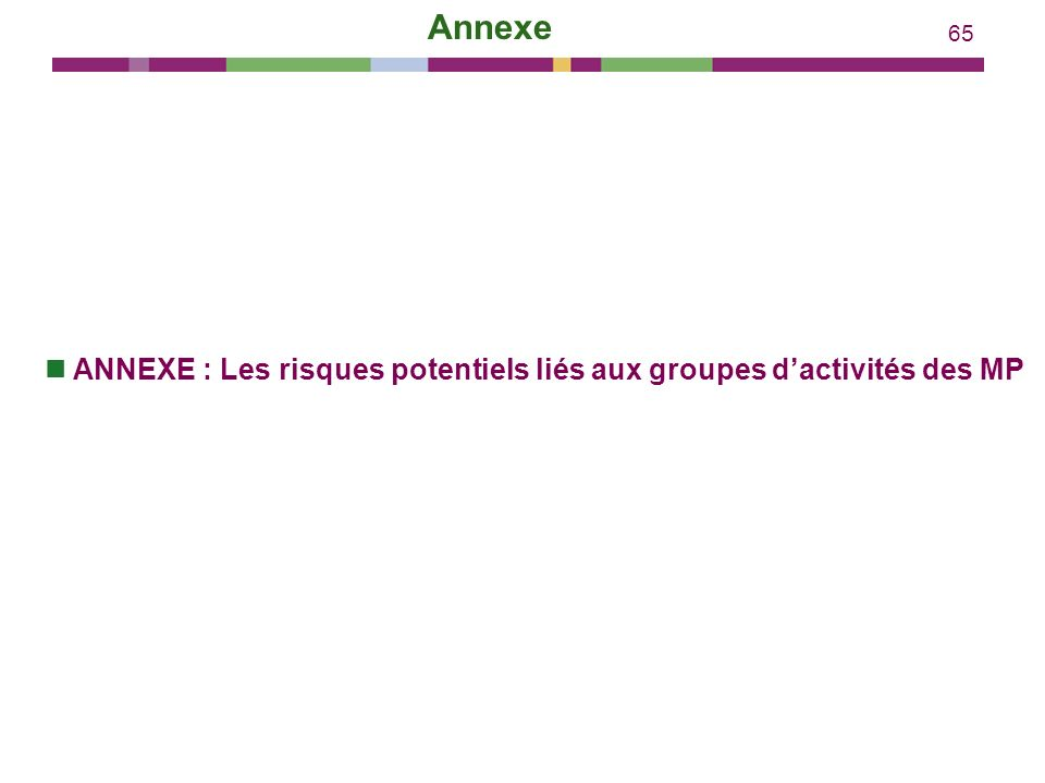 65 Annexe ANNEXE : Les risques potentiels liés aux groupes dactivités des MP