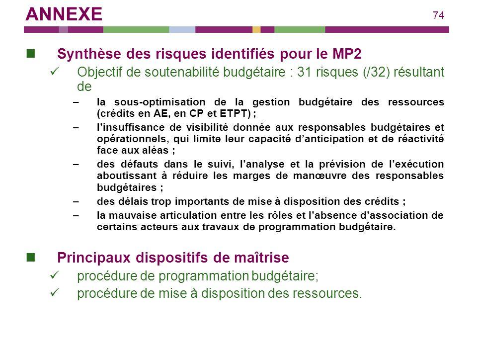 74 Synthèse des risques identifiés pour le MP2 Objectif de soutenabilité budgétaire : 31 risques (/32) résultant de –la sous-optimisation de la gestio