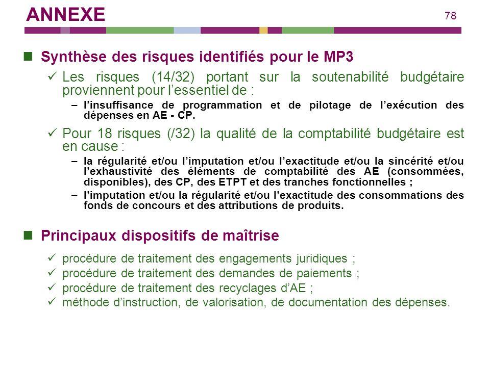 78 Synthèse des risques identifiés pour le MP3 Les risques (14/32) portant sur la soutenabilité budgétaire proviennent pour lessentiel de : –linsuffis
