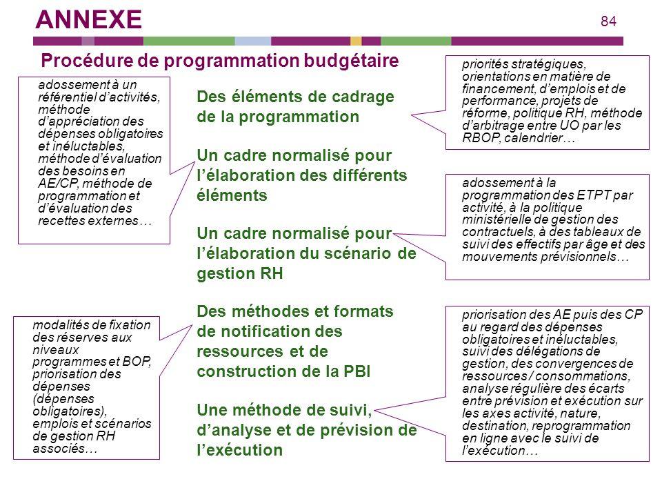 84 Procédure de programmation budgétaire Des éléments de cadrage de la programmation priorités stratégiques, orientations en matière de financement, d