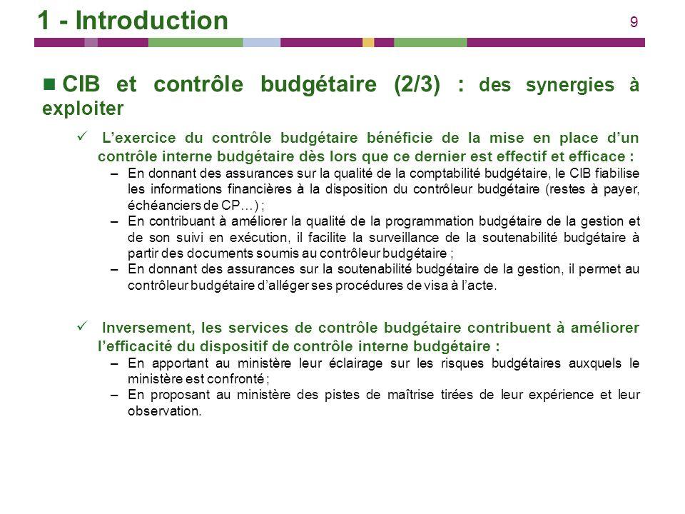 10 CIB et contrôle budgétaire (3/3) : le nouveau positionnement du contrôle budgétaire Ayant intérêt à la mise en place dun CIB efficace, et réunissant les compétences pour en susciter lamélioration : –Les services du contrôle budgétaire promeuvent et accompagnent la mise en place dun contrôle interne budgétaire dans les ministères ; –Ils doivent aussi être placés en position de pouvoir juger de leffectivité et de lefficacité du CIB : à ce titre, dans chaque ministère, le CBCM a vocation à siéger dans les instances de pilotage du CIB ainsi quau comité daudit ministériel.