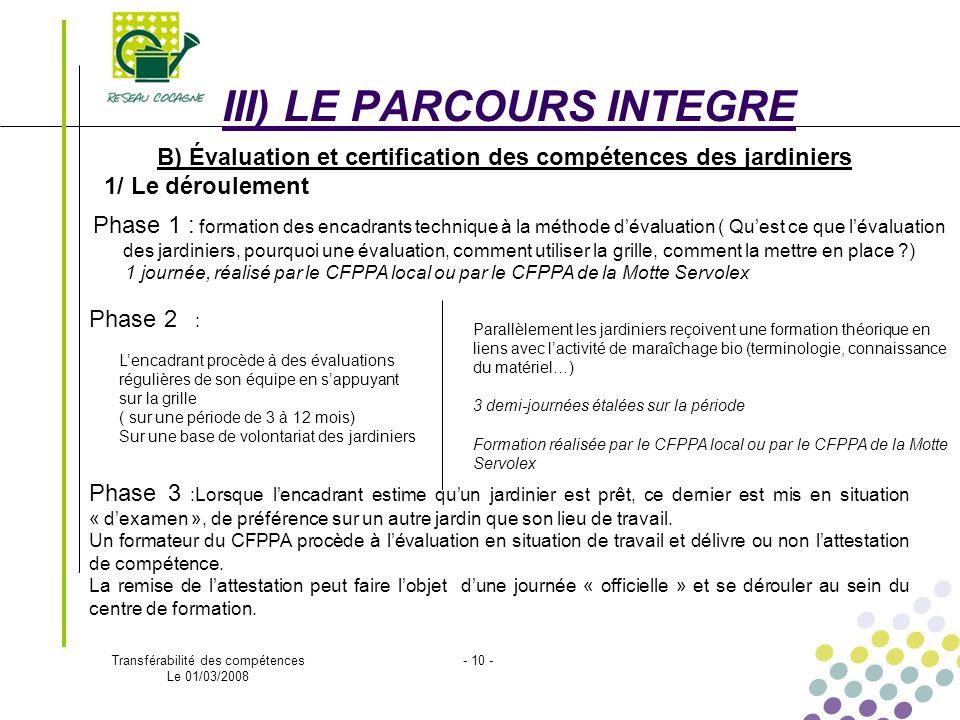 Transférabilité des compétences Le 01/03/2008 - 10 - B) Évaluation et certification des compétences des jardiniers 1/ Le déroulement III) LE PARCOURS