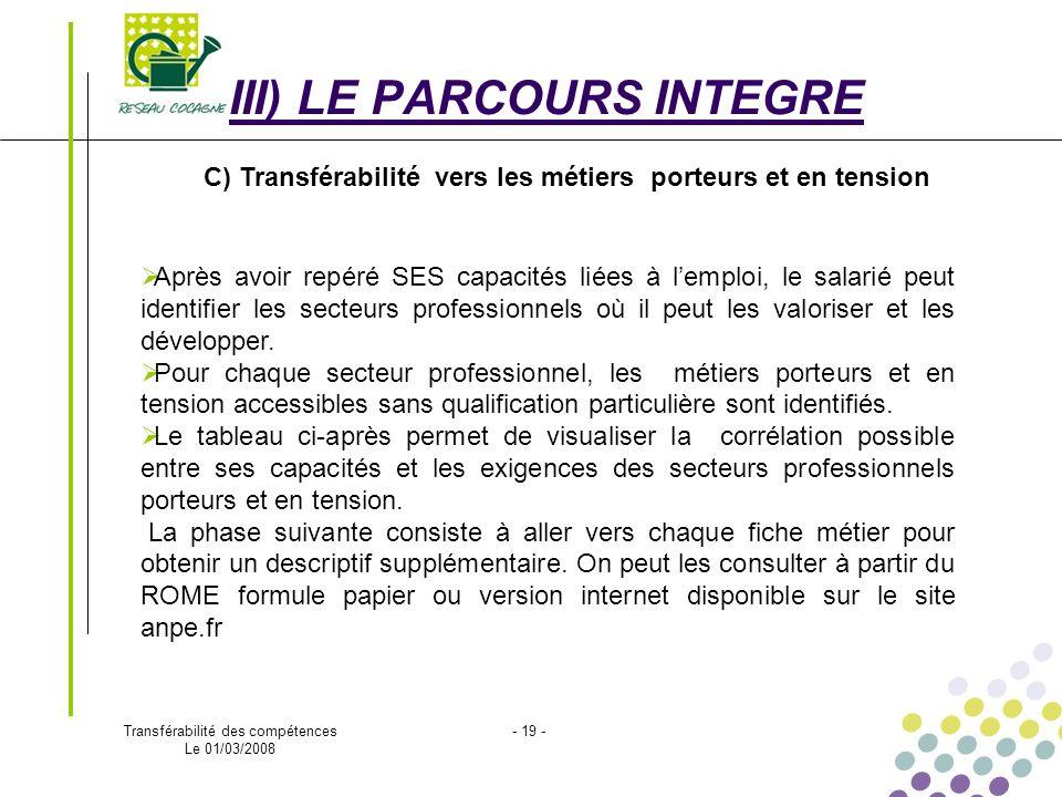 Transférabilité des compétences Le 01/03/2008 - 19 - III) LE PARCOURS INTEGRE C) Transférabilité vers les métiers porteurs et en tension Après avoir r