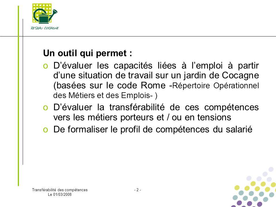 Transférabilité des compétences Le 01/03/2008 - 2 - Un outil qui permet : oDévaluer les capacités liées à lemploi à partir dune situation de travail s