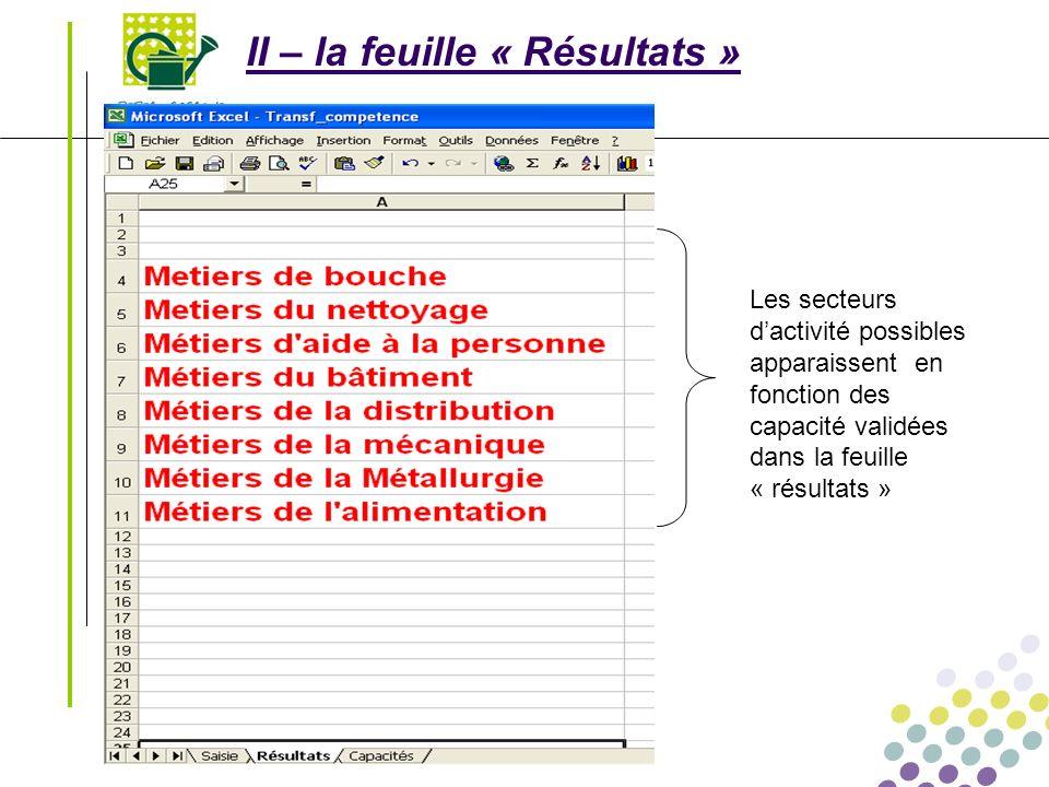 Transférabilité des compétences Le 01/03/2008 - 5 - II – la feuille « Résultats » Les secteurs dactivité possibles apparaissent en fonction des capaci
