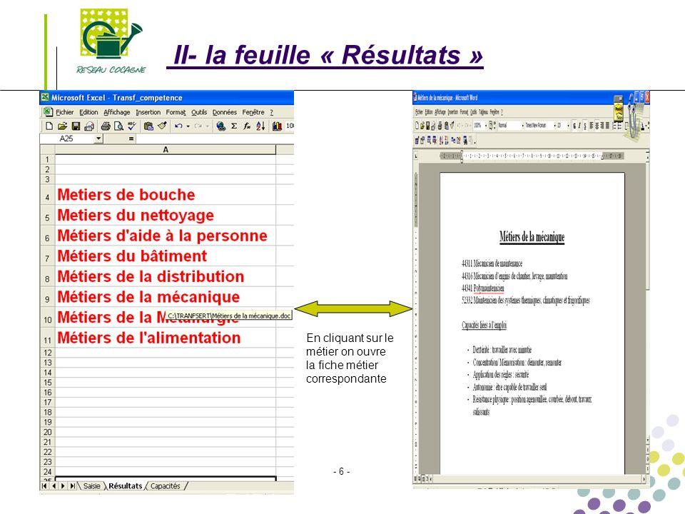 Transférabilité des compétences Le 01/03/2008 - 6 - II- la feuille « Résultats » En cliquant sur le métier on ouvre la fiche métier correspondante