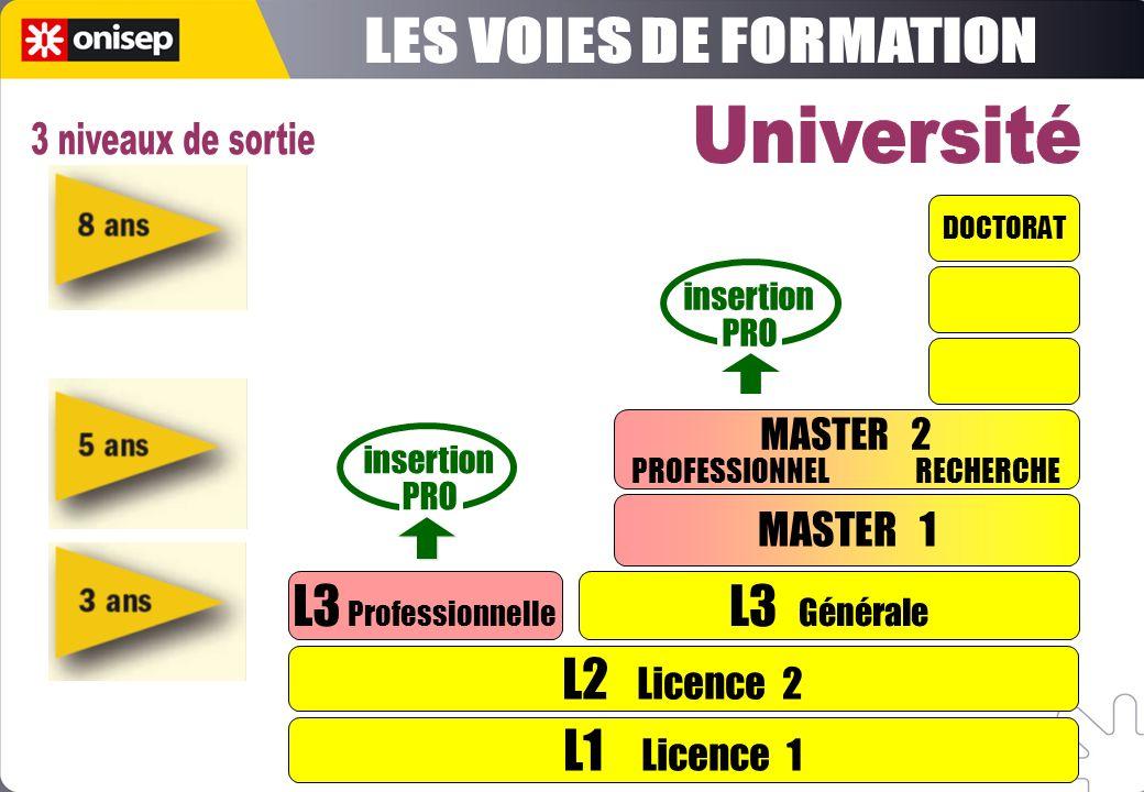 L1 Licence 1 L2 Licence 2 L3 Professionnelle L3 Générale MASTER 1 DOCTORAT insertion PRO insertion PRO MASTER 2 PROFESSIONNEL RECHERCHE