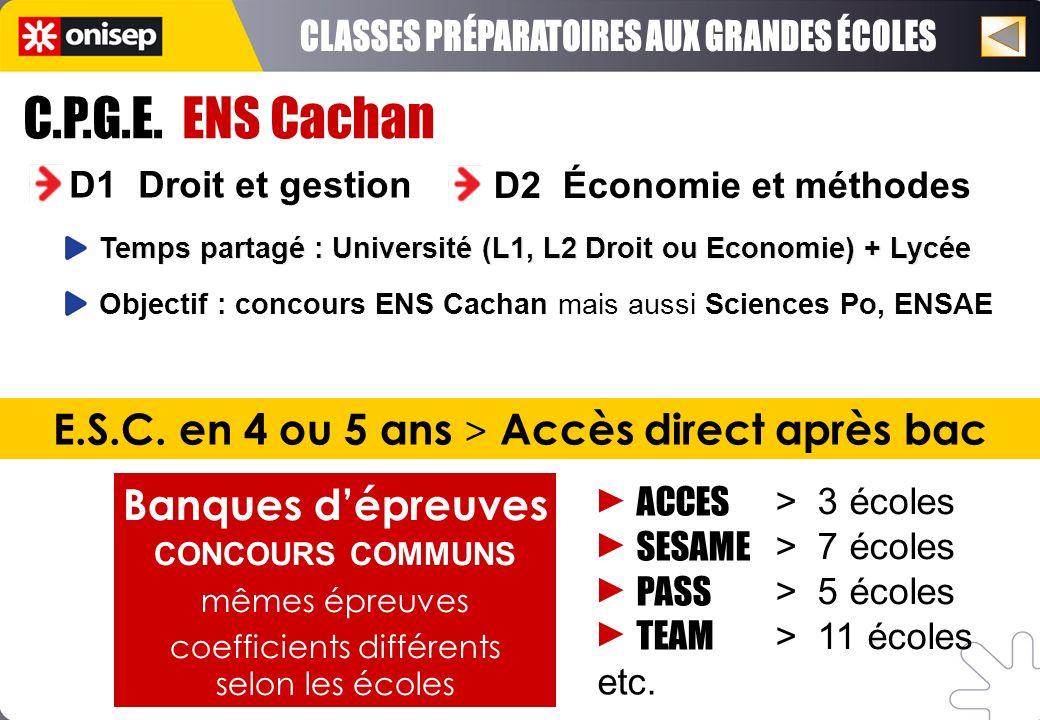 C.P.G.E. ENS Cachan D1 Droit et gestion D2 Économie et méthodes Objectif : concours ENS Cachan mais aussi Sciences Po, ENSAE Temps partagé : Universit