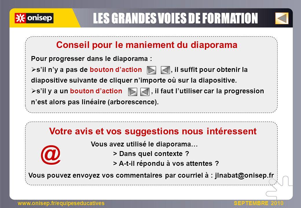 www.onisep.fr/equipeseducatives SEPTEMBRE 2010 Pour progresser dans le diaporama : sil ny a pas de bouton daction, il suffit pour obtenir la diapositi
