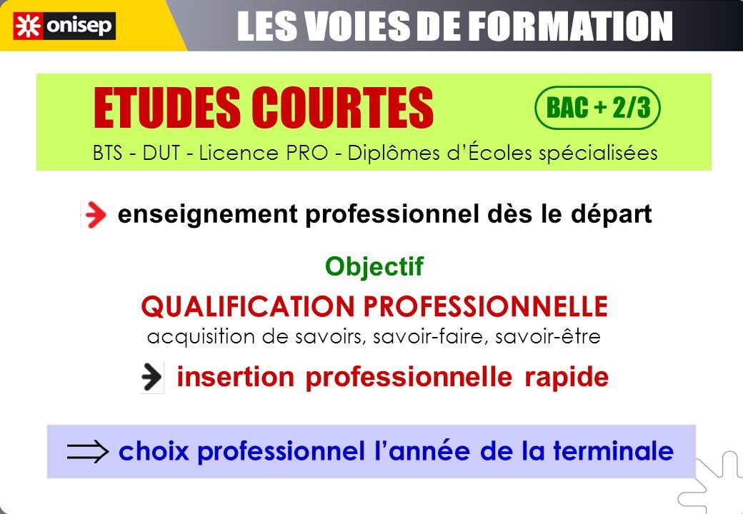 enseignement professionnel dès le départ insertion professionnelle rapide Objectif choix professionnel lannée de la terminale ETUDES COURTES BAC + 2/3