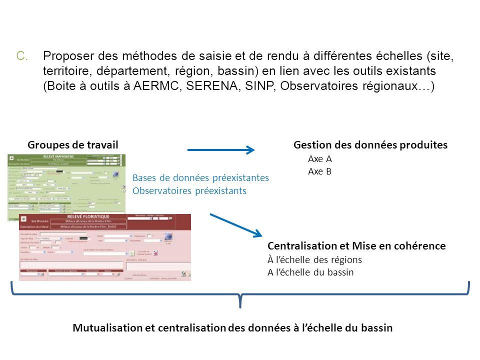 C.Proposer des méthodes de saisie et de rendu à différentes échelles (site, territoire, département, région, bassin) en lien avec les outils existants