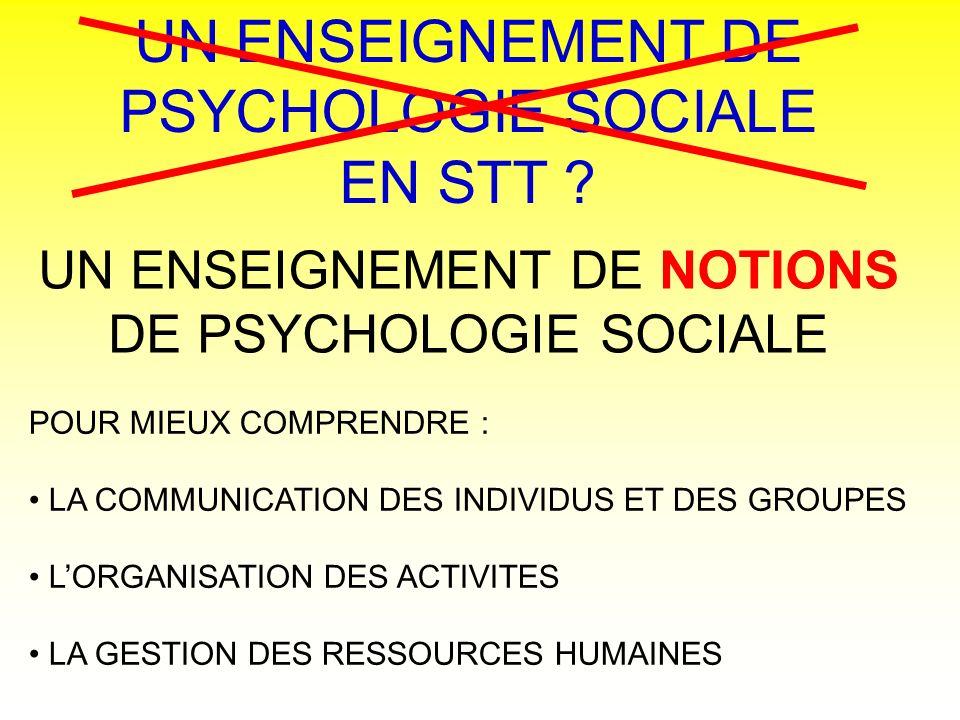 UN ENSEIGNEMENT DE PSYCHOLOGIE SOCIALE EN STT ? UN ENSEIGNEMENT DE NOTIONS DE PSYCHOLOGIE SOCIALE POUR MIEUX COMPRENDRE : LA COMMUNICATION DES INDIVID