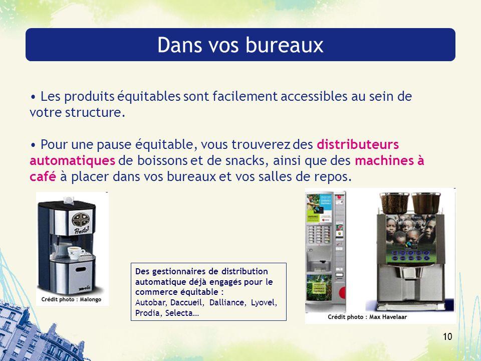 10 Dans vos bureaux Les produits équitables sont facilement accessibles au sein de votre structure. Pour une pause équitable, vous trouverez des distr