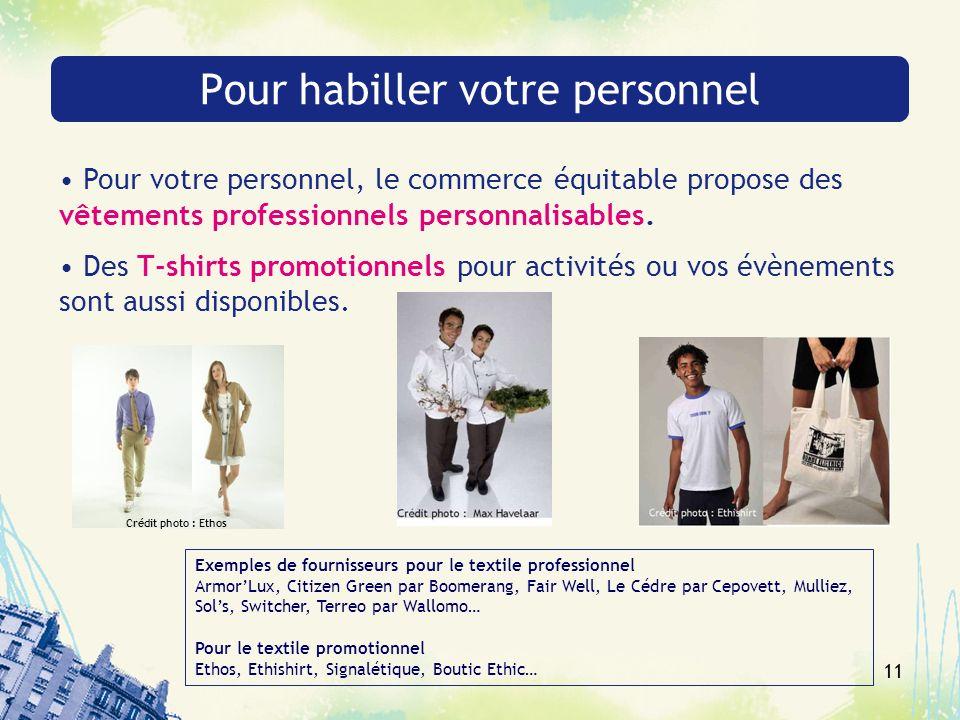 11 Pour habiller votre personnel Pour votre personnel, le commerce équitable propose des vêtements professionnels personnalisables. Des T-shirts promo