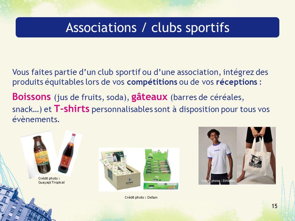 15 Associations / clubs sportifs Vous faites partie dun club sportif ou dune association, intégrez des produits équitables lors de vos compétitions ou