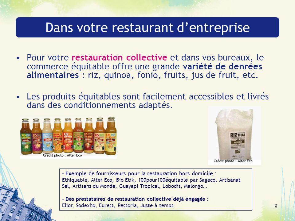 9 Dans votre restaurant dentreprise Pour votre restauration collective et dans vos bureaux, le commerce équitable offre une grande variété de denrées