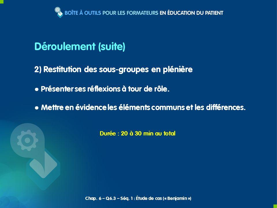 2) Restitution des sous-groupes en plénière Présenter ses réflexions à tour de rôle. Mettre en évidence les éléments communs et les différences. Dérou