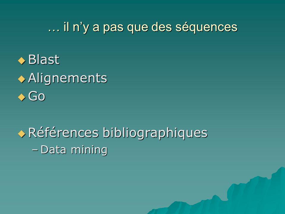 … il ny a pas que des séquences Blast Blast Alignements Alignements Go Go Références bibliographiques Références bibliographiques –Data mining
