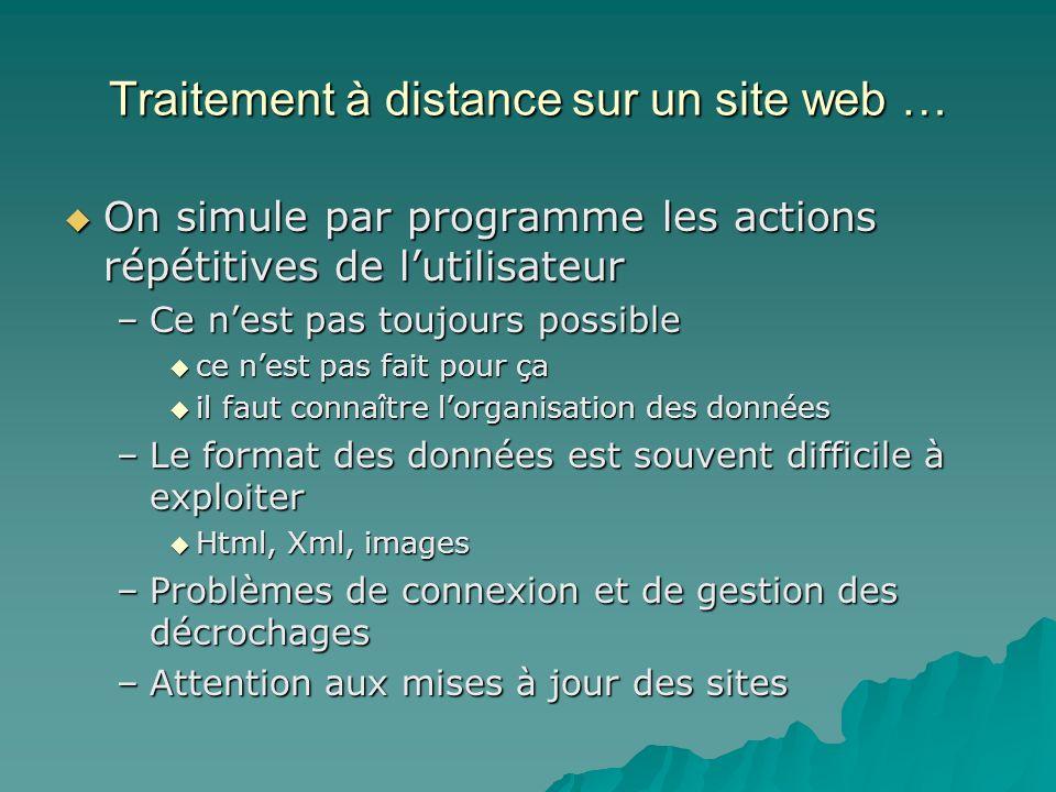 Traitement à distance sur un site web … On simule par programme les actions répétitives de lutilisateur On simule par programme les actions répétitive