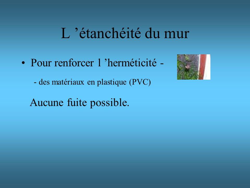 L étanchéité du mur Pour renforcer l herméticité - Aucune fuite possible. - des matériaux en plastique (PVC)