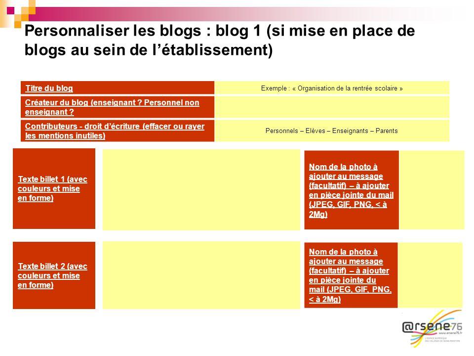 Personnaliser les blogs : blog 1 (si mise en place de blogs au sein de létablissement) Titre du blog Exemple : « Organisation de la rentrée scolaire »