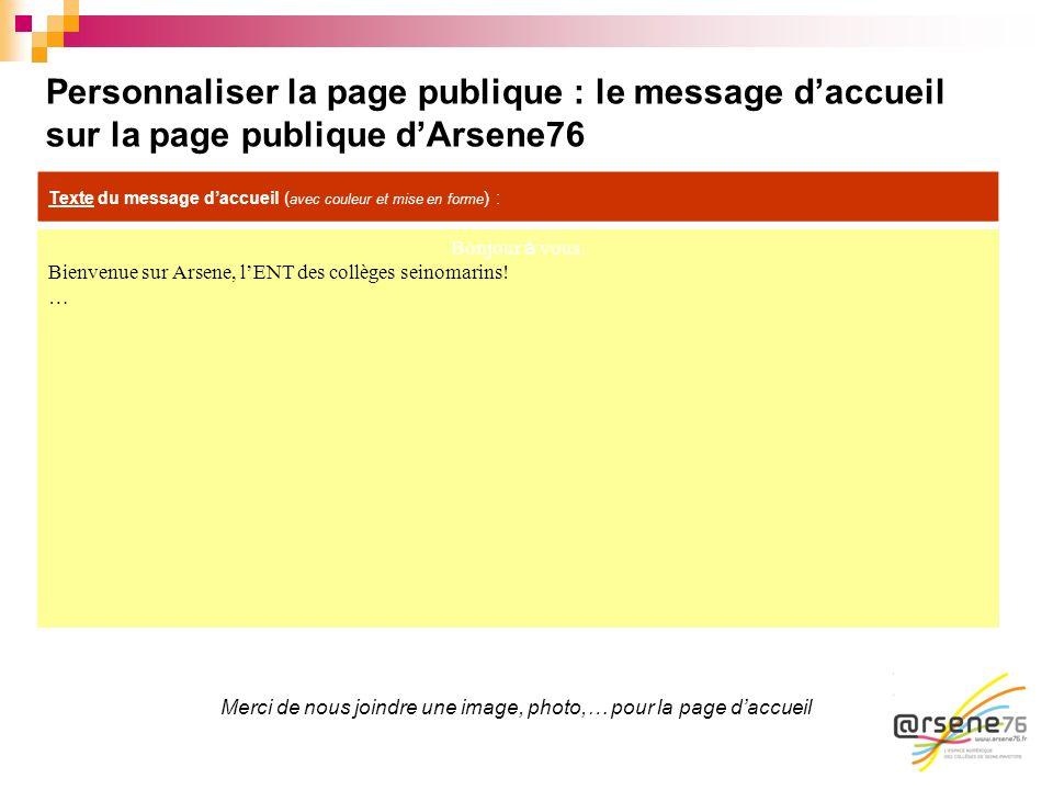 Personnaliser la page publique : le message daccueil sur la page publique dArsene76 Bonjour à vous. Bienvenue sur Arsene, lENT des collèges seinomarin
