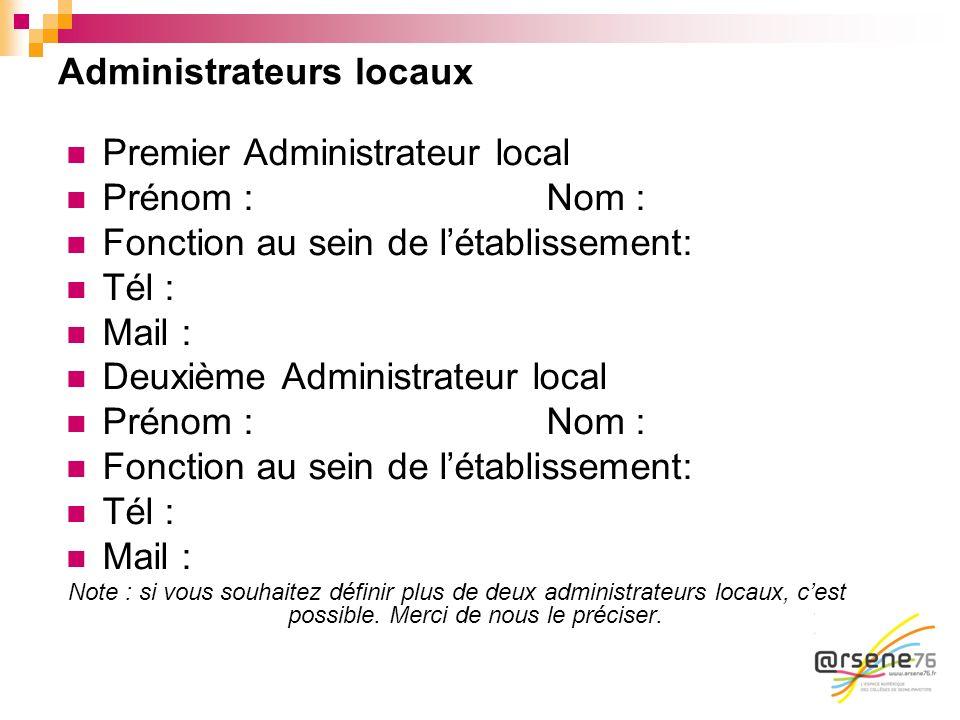 Administrateurs locaux Premier Administrateur local Prénom : Nom : Fonction au sein de létablissement: Tél : Mail : Deuxième Administrateur local Prén