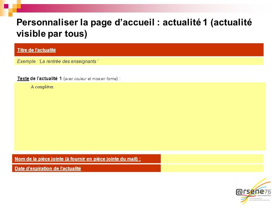 Personnaliser la page daccueil : actualité 1 (actualité visible par tous) Texte de lactualité 1 ( avec couleur et mise en forme ) : A compléter. Titre