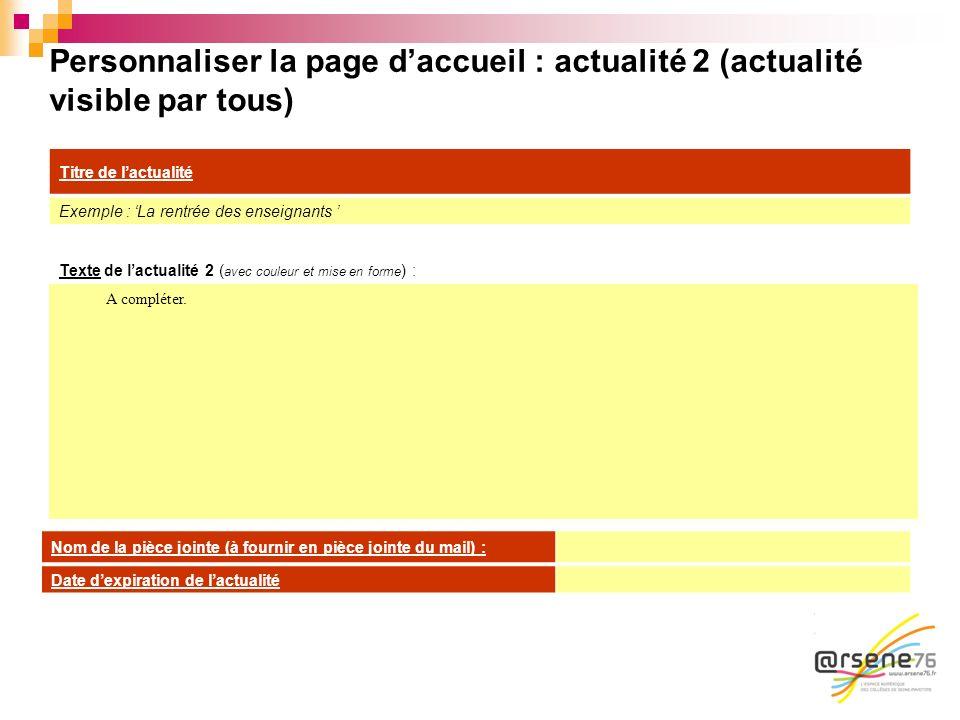 Personnaliser la page daccueil : actualité 2 (actualité visible par tous) Texte de lactualité 2 ( avec couleur et mise en forme ) : A compléter. Titre