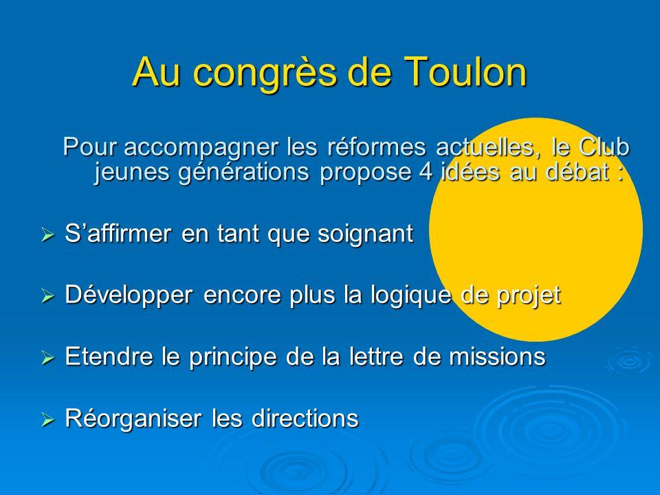Au congrès de Toulon Pour accompagner les réformes actuelles, le Club jeunes générations propose 4 idées au débat : Saffirmer en tant que soignant Saf