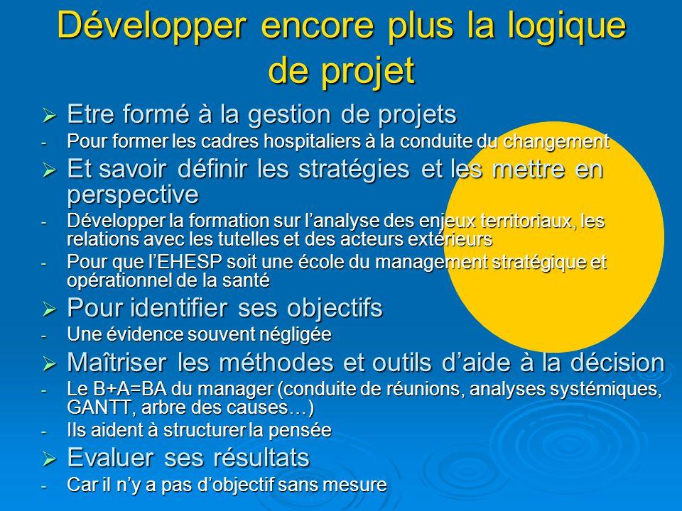 Développer encore plus la logique de projet Etre formé à la gestion de projets Etre formé à la gestion de projets - Pour former les cadres hospitalier