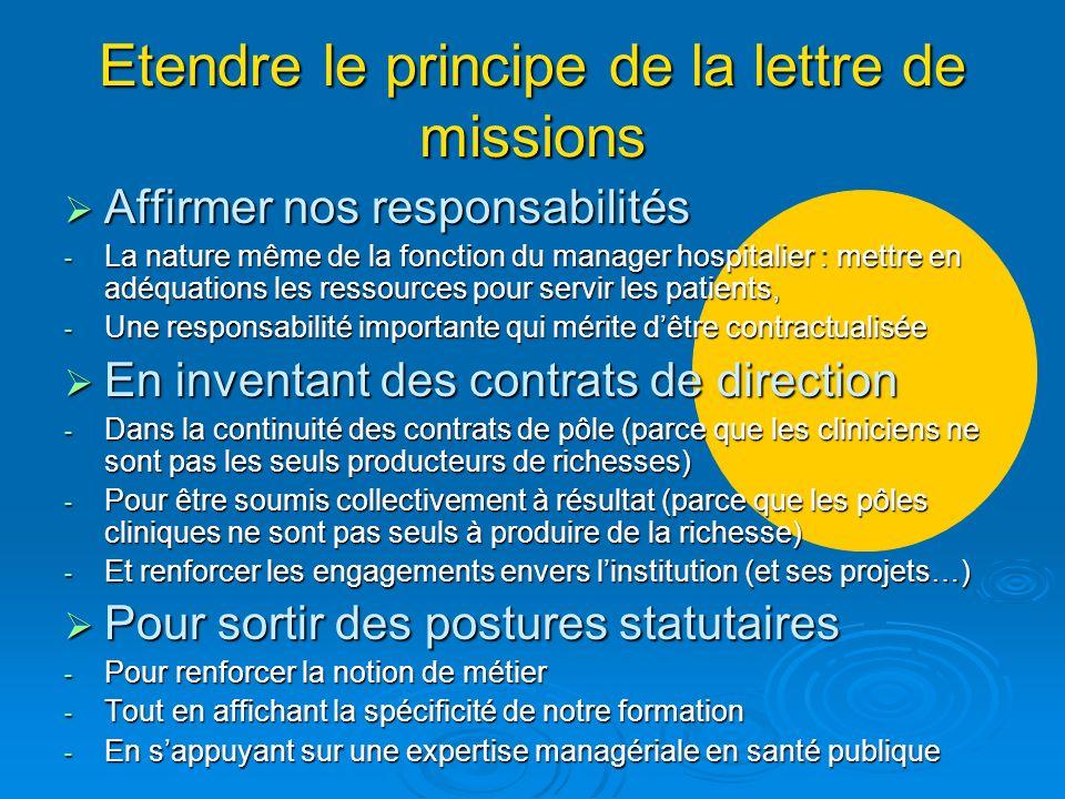 Etendre le principe de la lettre de missions Affirmer nos responsabilités Affirmer nos responsabilités - La nature même de la fonction du manager hosp