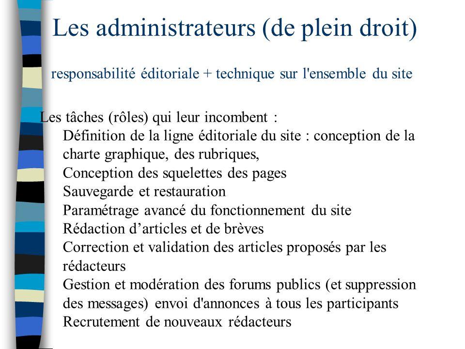 Les administrateurs (de plein droit) responsabilité éditoriale + technique sur l'ensemble du site Les tâches (rôles) qui leur incombent : Définition d