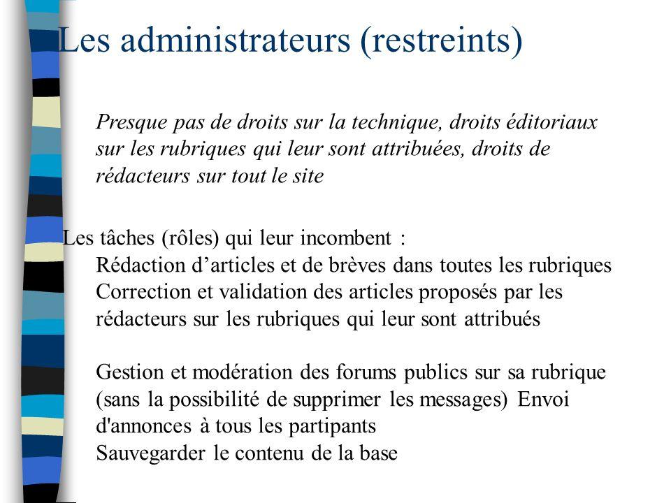 Les administrateurs (restreints) Presque pas de droits sur la technique, droits éditoriaux sur les rubriques qui leur sont attribuées, droits de rédac