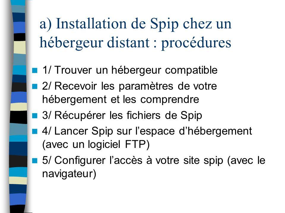 a) Installation de Spip chez un hébergeur distant : procédures 1/ Trouver un hébergeur compatible 2/ Recevoir les paramètres de votre hébergement et l