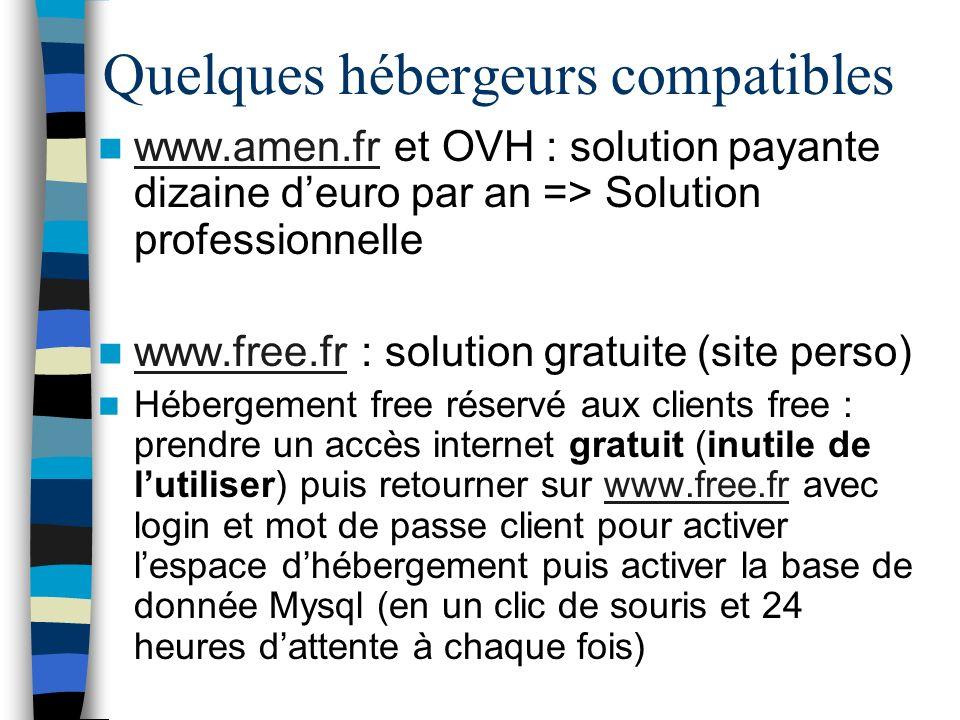 Quelques hébergeurs compatibles www.amen.fr et OVH : solution payante dizaine deuro par an => Solution professionnelle www.amen.fr www.free.fr : solut