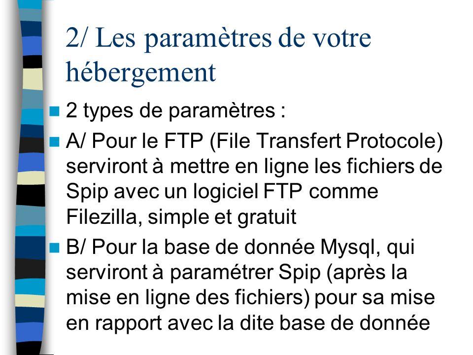 2/ Les paramètres de votre hébergement 2 types de paramètres : A/ Pour le FTP (File Transfert Protocole) serviront à mettre en ligne les fichiers de S